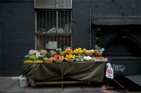 Fruit and gray brick